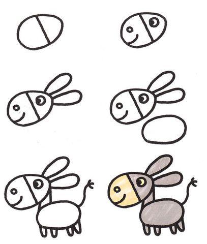 Пошаговая инструкция рисования ослика довольно проста