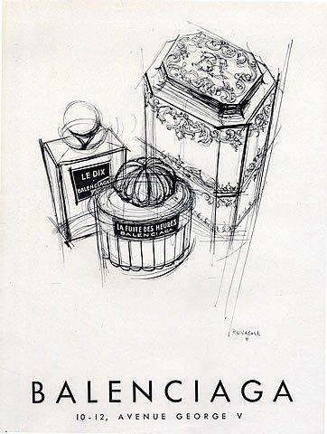 Balenciaga (Perfumes) 1949 Le Dix, La Fuite des Heures, Suzanne Runacher Publicité ancienne Parfums illustrée par Suzanne Runacher | Hprints.com