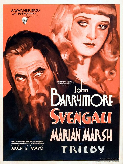 Svengali (1931) Classic Movie Poster. Watch the full film starring John Barrymore here: http://www.nuraypictures.com/movies/svengali_1931