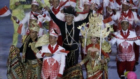 Indonesia were perhaps the most regal looking team in the opening ceremony