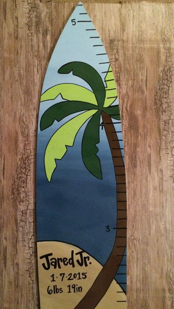 Custom Painted Hawaiian Surfboard Surf  Blue Island Wooden JoJo North Shore Wood Growth Chart Nursery Decor Baby Name Hawaii Tropical Theme
