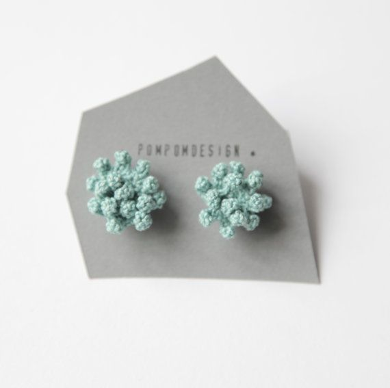 Dahlia shape crochet stud earrings. Available in fall colors. Earrings wire are silver plated. Color: Pale teal Flowerpower