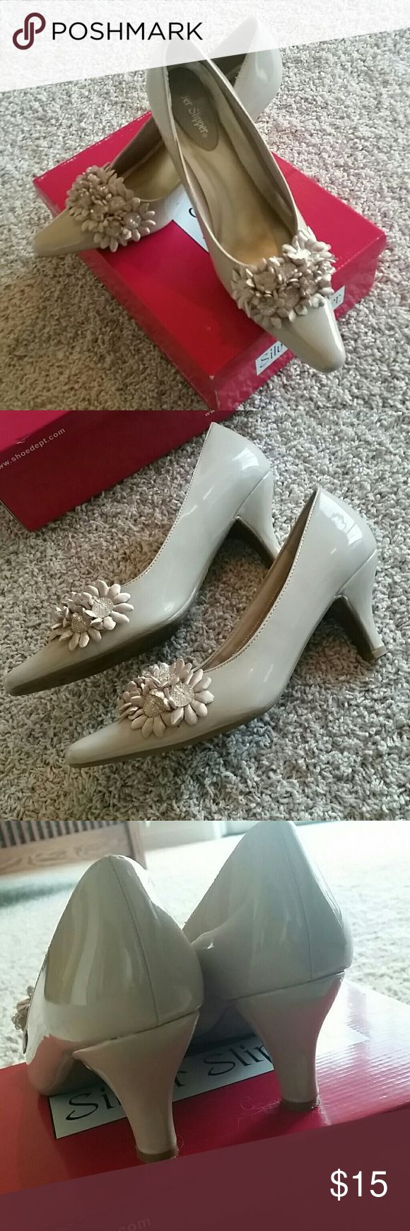 Silver Slipper size 8.5 taupe heels Excellent condition used shoes. Wore for a one time occasion. Silver Slipper  Shoes Heels