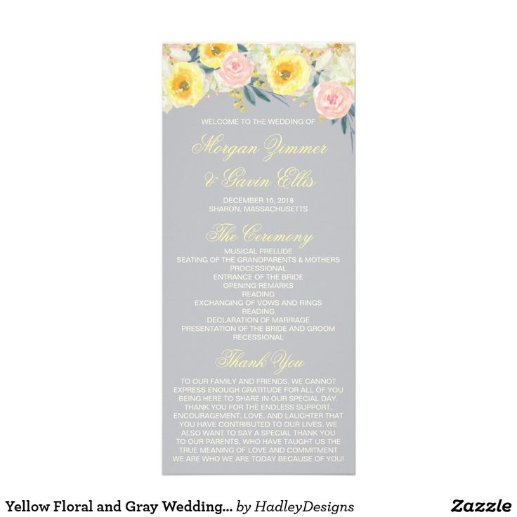 7195 best invitations rsvp stationery thank you notes yellow floral and gray wedding program card stopboris Choice Image