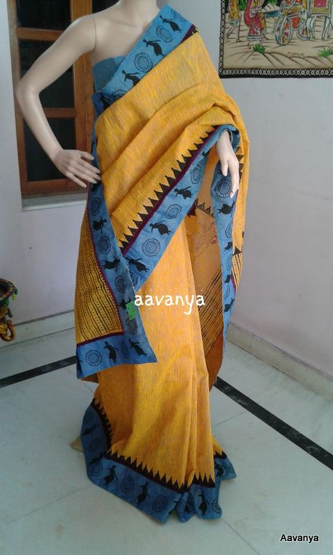 Golden Yellow Jute Cotton with mangalagri patch block printed with lovely classcial dance theme.. Sold Out www.facebook.com/aavanya