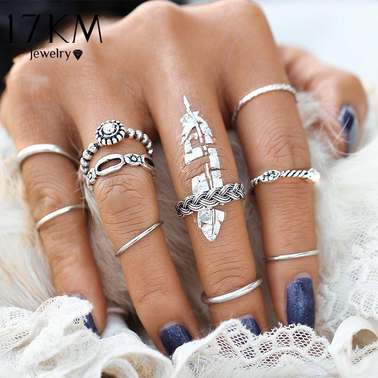 17KM Vintage 10pcs/set Ring Set Punk Silver Color Infinity Rings For Women/Men Bead Finger Gold Color Bohemian Punk Midi Ring