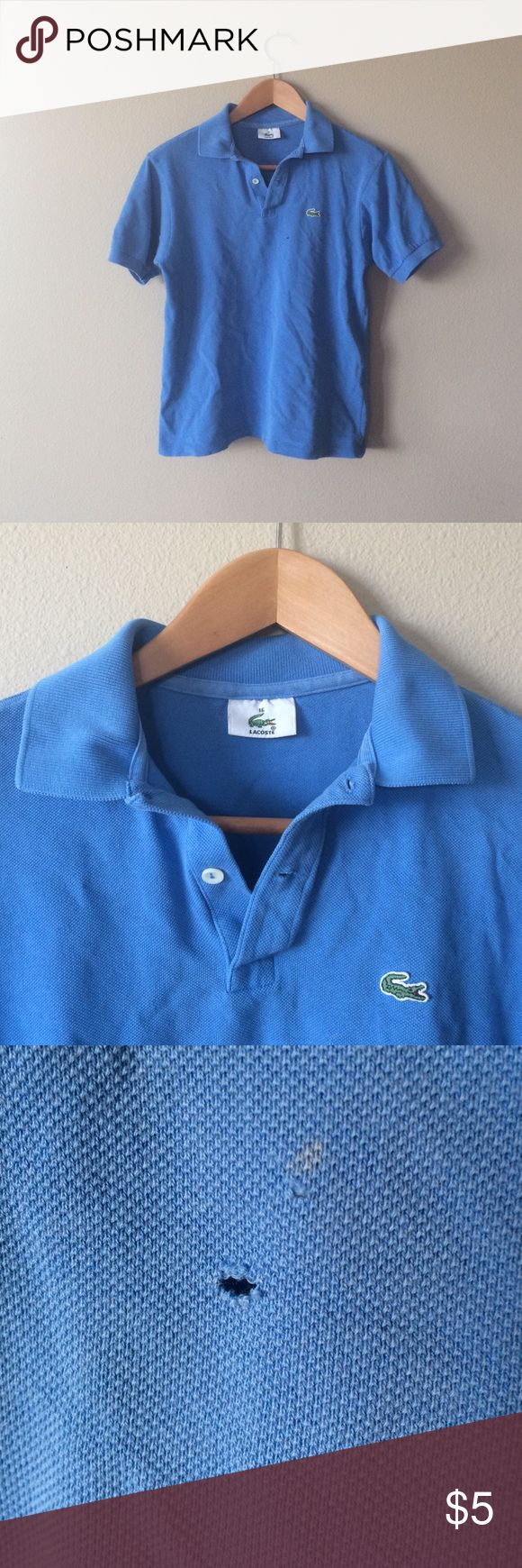 Lacoste Polo Shirt Used condition and it has a small hole at the front (that could be fixed with a needle and thread..) This is Boy size 16, but also goes as a Women's small :) Lacoste Shirts & Tops