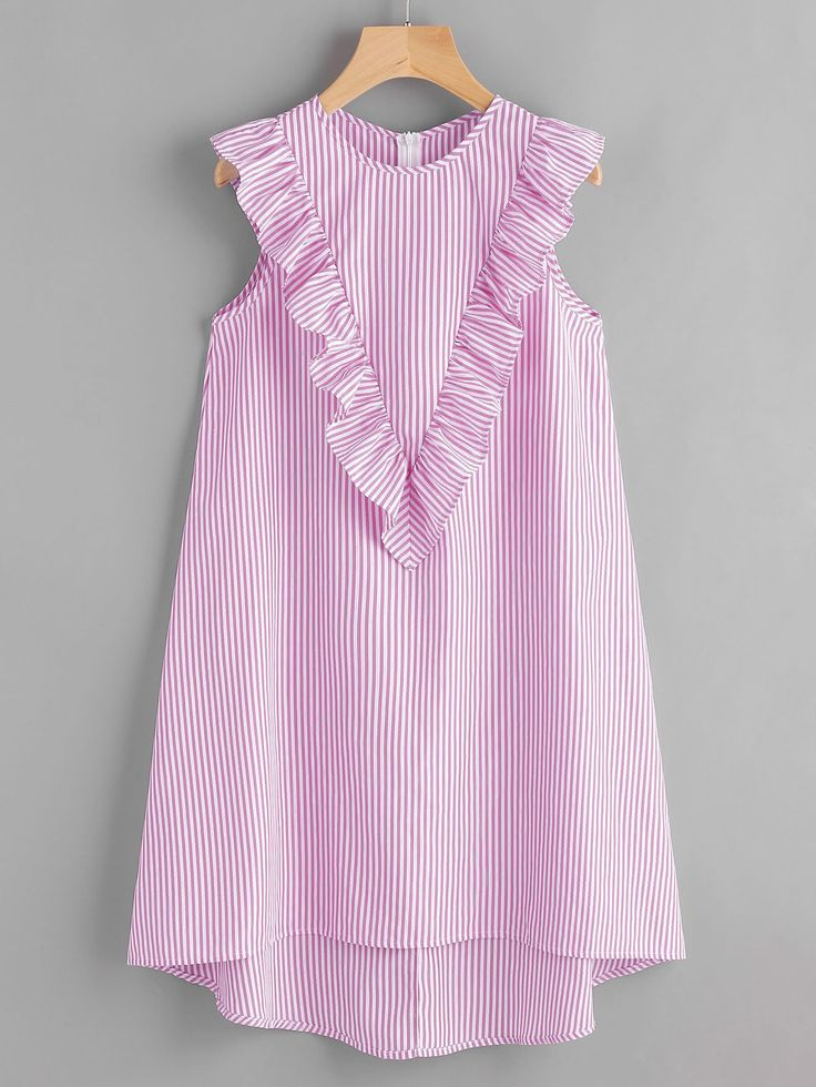 ¡Consigue este tipo de vestido informal de SheIn ahora! Haz clic para ver los detalles. Envíos gratis a toda España. Zip Back Ruffle Yoke Striped Dress: Pink Casual Cute Vacation Polyester Round Neck Sleeveless Shift Short Zip Ruffle Striped Fabric has no stretch Summer Tunic Dresses. (vestido informal, casual, informales, informal, day, kleid casual, vestido informal, robe informelle, vestito informale, día)