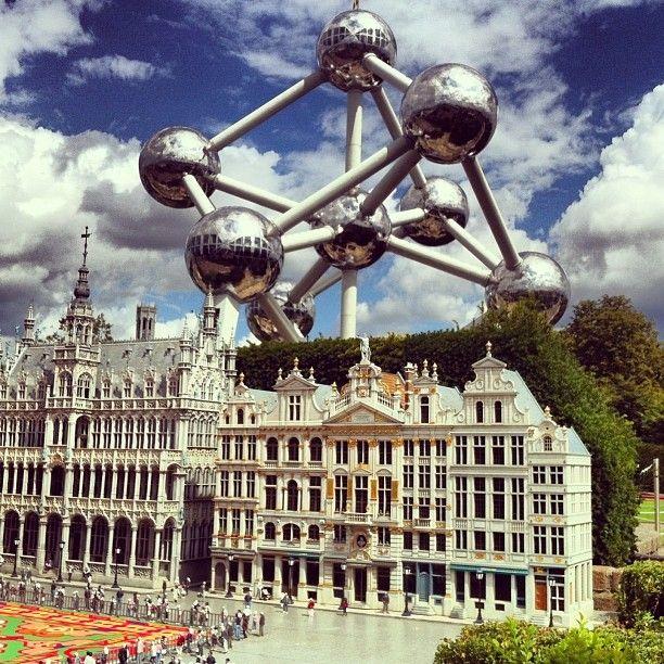 #mini #grandplace of #brussels with #giant #atomium #monument #belgium #bruxelles #tourism #park #architecture #europe