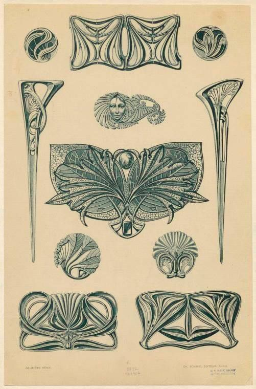 Bijoux modernes - from a series of Art Nouveau designs by Rene Beauclair (ca.1900)