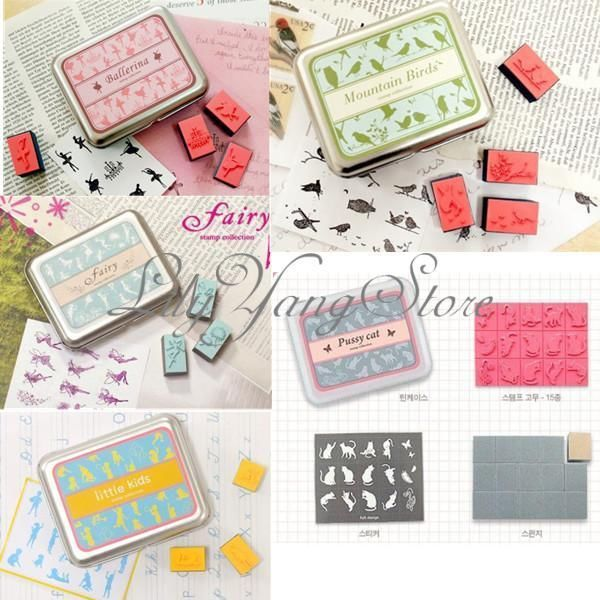 Lovely DIY Rubber Stamps Set In Tin Box Case Kids Child Girl Boy Toy Drawing Art #Unbranded