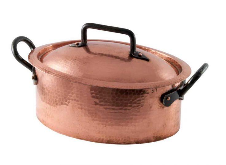 Copper Dutch Oven / Elliptical Roaster - 32cm or 12.75Long X 5.5 High X 9 ...