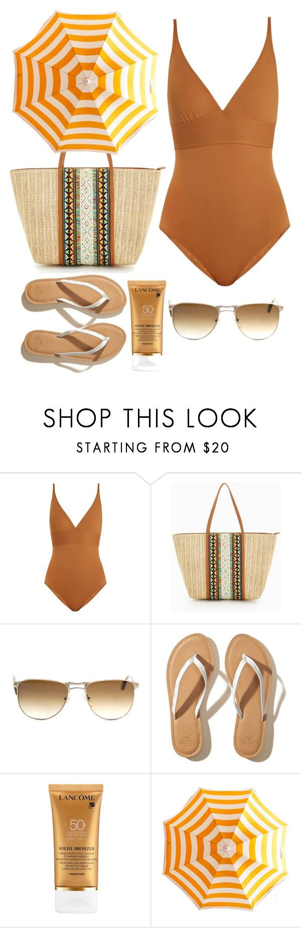 """""""Lady of the beach."""" by elizabethpd ❤ liked on Polyvore featuring Eres, ALDO, Persol, Hollister Co. and Lancôme"""
