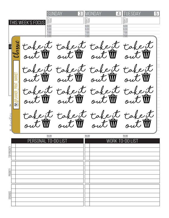 Trash Day Word Stickers For your Planner Passion Planner Happy