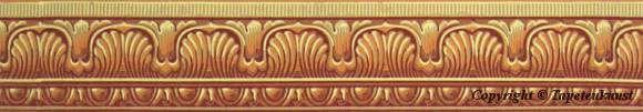 """Klassische Handdruckbordüre aus einem Musterbuch der Wiener Manufaktur """"Spörlin & Rahn"""" von 1822. Die Bordüre dient als oberer Abschluß für die Rauten-Rosetten Tapete aus dem Ovalen Kabinett in der Albertina in Wien."""