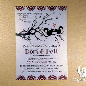 Squirrel wedding invitation #esküvői #meghívó #nyomtatott #esküvőimeghívó #egyedi #mókus #wedding #weddinginvitation #squirrel