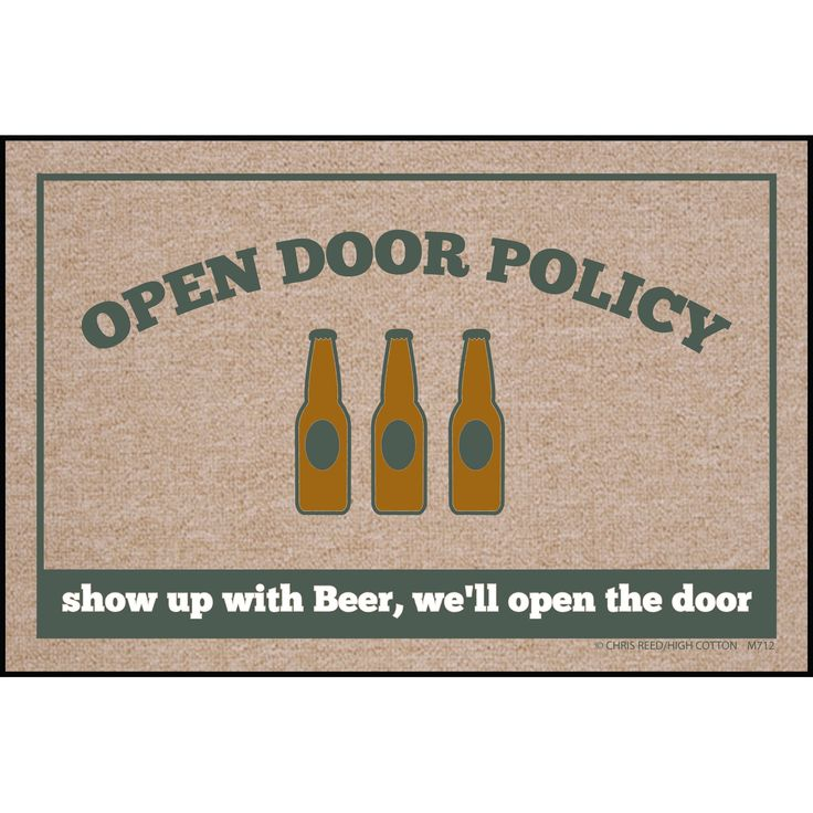 High Cotton Welcome Doormats - Open Door Policy, Show up with Beer, Multi (Fabric)