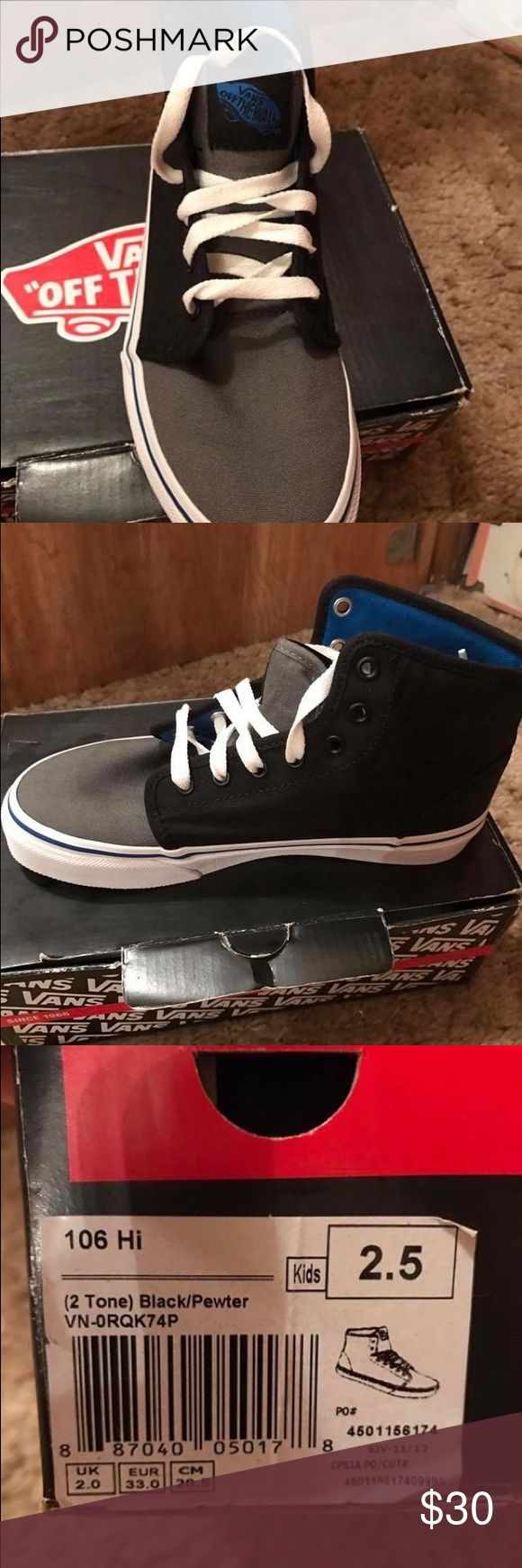 Boys vans size 2.5 new never worn Boys vans high tops black, blue and white size 2.5 Vans Shoes Sneakers