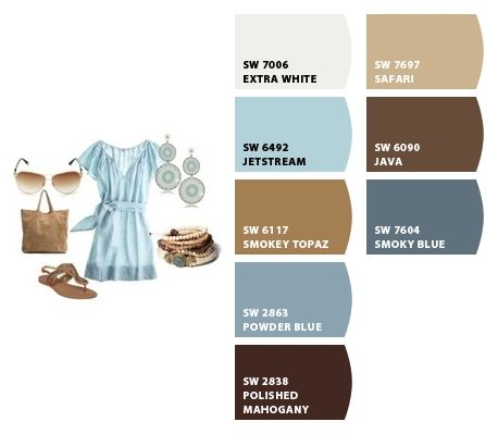 Paint colors from Chip It! by Sherwin-Williams. Blue/browns. Colour palette