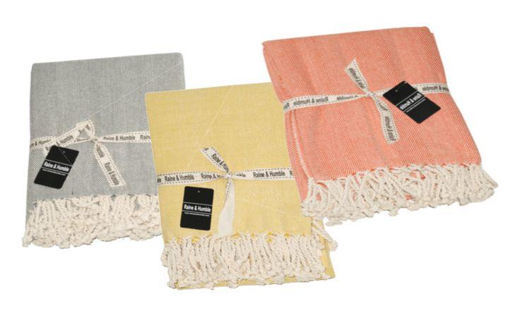 Weave Throws (Navy, Yellow, Orange & Charcoal)