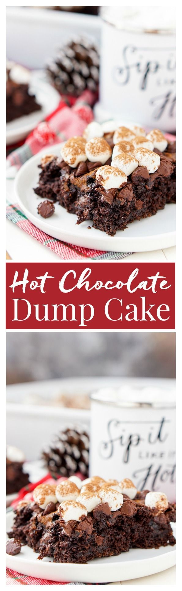 With this Hot Chocolate Dump Cake, there's no need to decide between hot cocoa and chocolate cake – you can have both! An easy holiday dessert made with just six ingredients! /tablespoon/ #ad #tablespoon