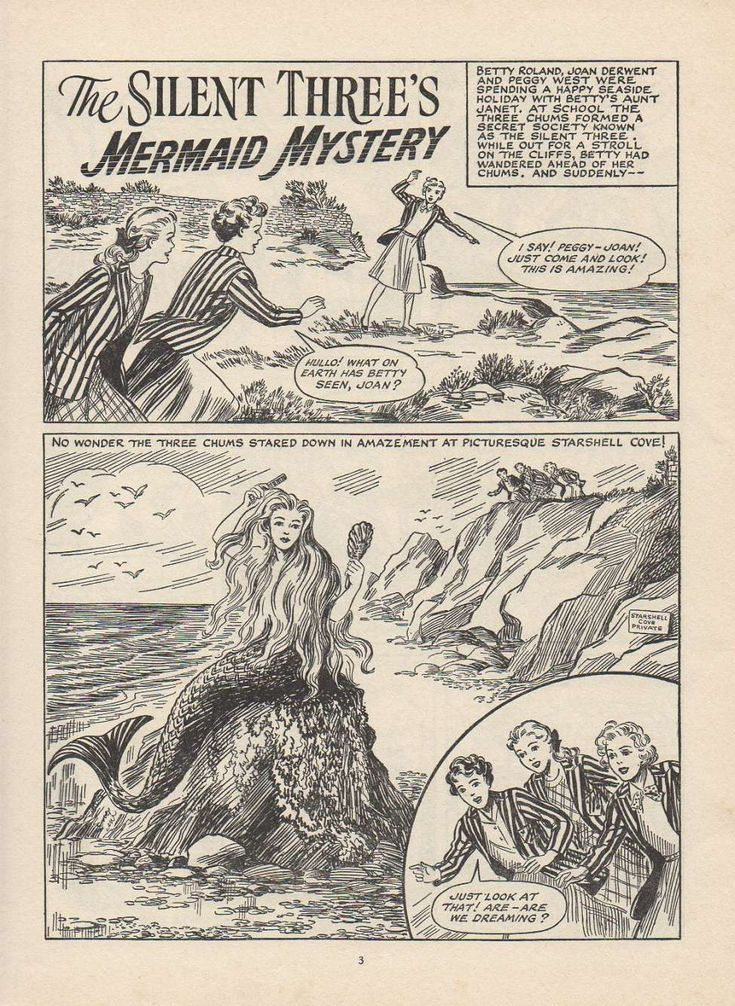 Comic Book Cover For The Silent Three Mermaid Mystery