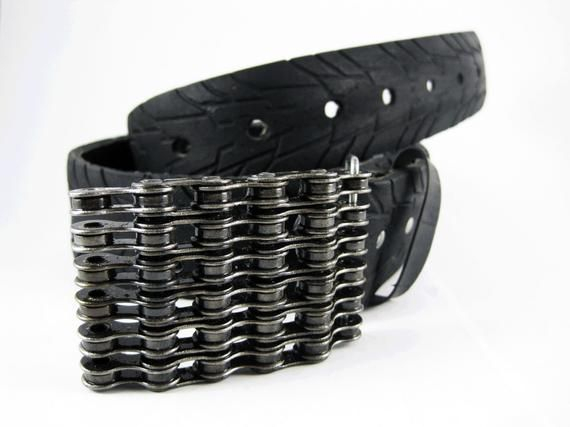 Recycled Bike Chain Belt Buckle Curved Clear Finish Belt