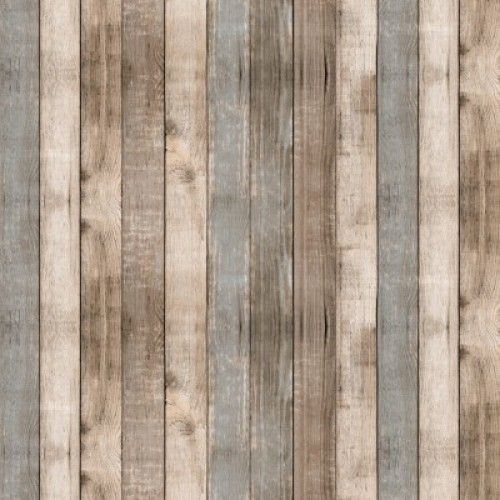 Plakfolie Lola Cabane Playa heeft een sfeervolle steigerhout look