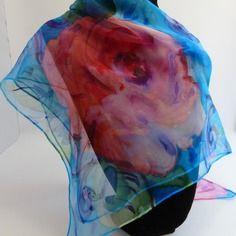 """Foulard gavroche en mousseline de soie peint main fleuri rose """" lolita """""""