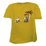 """T shirt équitable enfant coton biologique moutarde  MANILLE """"ROOAAR""""  Collection hiver 2011 Quat'rues"""