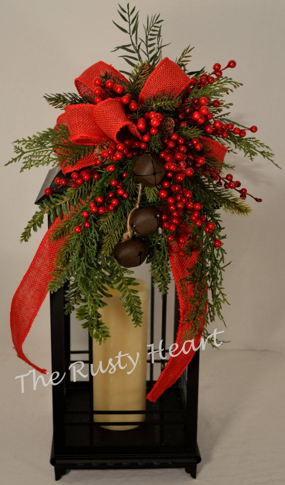 Christmas Jingle Bell Lantern Swag with Red Burlap Ribbon