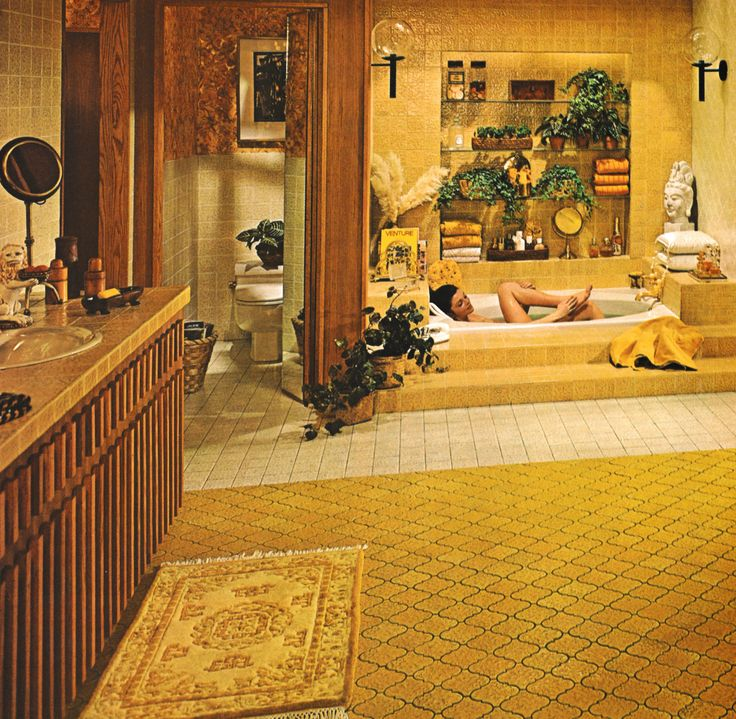 Bathroom Decor, 1970s. I love this bathroom so much, I wouldn't even care that there's not a shower