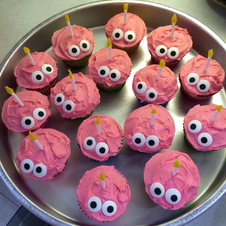 Five Nights at Freddy's cupcakes that I made (supposedly the cupcake is named Carl )