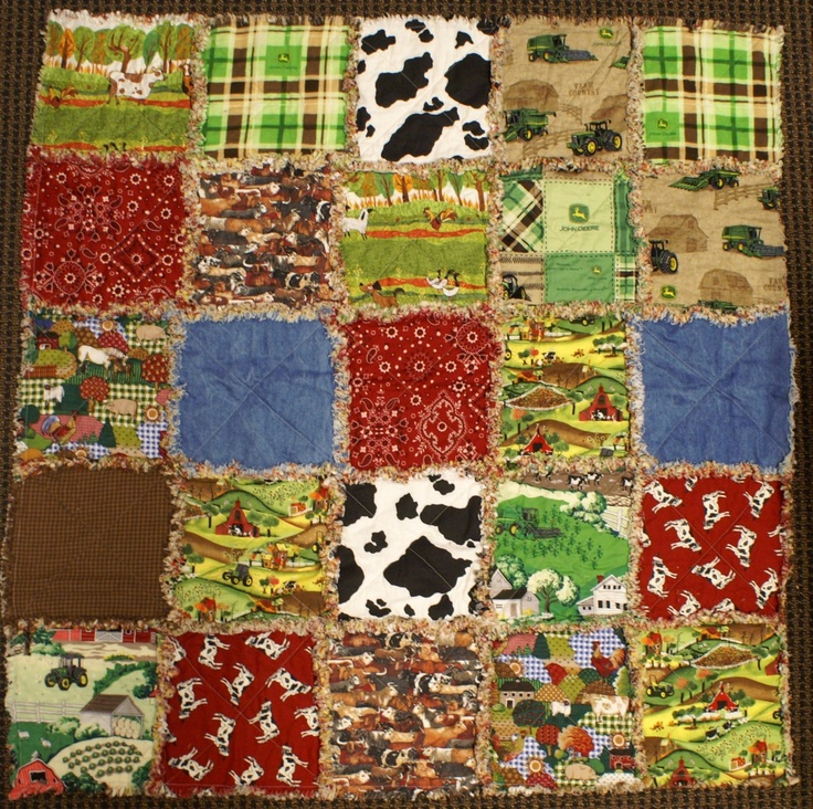 "43"" x 43"" Baby Rag QUILT FARM ANIMALS TRACTOR JOHN DEERE Handmade Ranch Plaid 