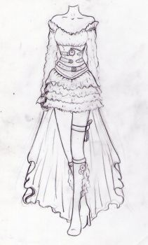 steampunk, sketch for a dress I had to made