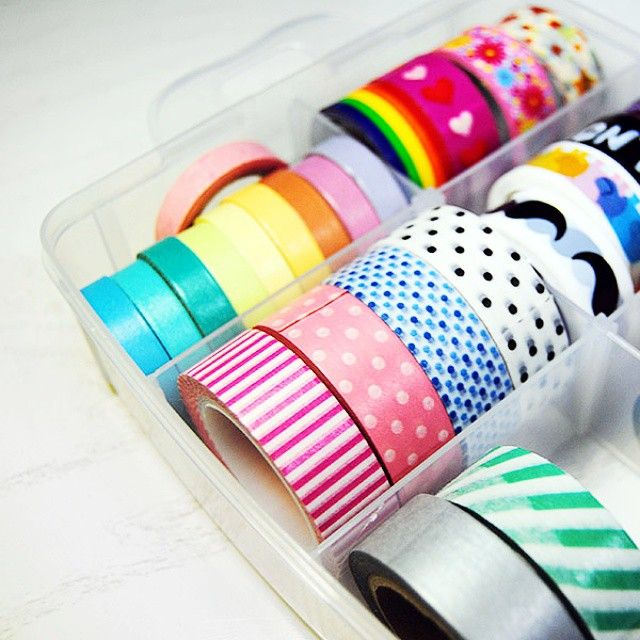 Day 2: Washi Tape. My small collection found a new home. #storage #washi #washitape #decotape #decphotochallenge