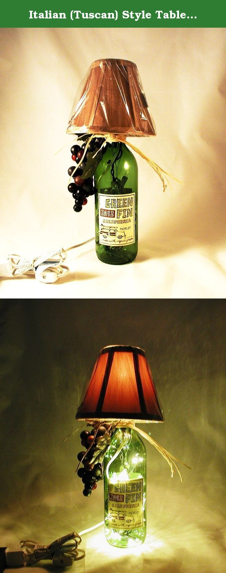 "Italian (Tuscan) Style Table Lamp Crafted From a Recycled Green 2012 Fin Merlot Wine Bottle. Shipping is included. Very attractive Italian style wine bottle table lamp made with a recycled Green Fin 2012 Merlot wine bottle. The bottle is Kelly green and the shade is tan. Lamp is approximately 14"" tall and approximately 10 "" wide (including the raffia). It has a nite light under the shade and mini lights inside the bottle. Comes with a switched cord for convenience. The lamp shade and bulb..."