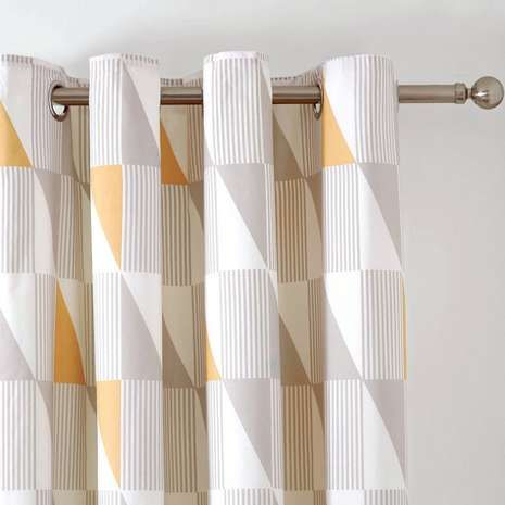 Skandi Geo Yellow Thermal Eyelet Curtains | Dunelm