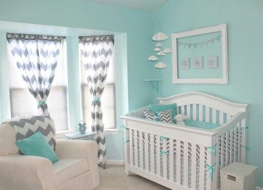 LOVE the serene colors! #EssentialEmbrace:  Cots, Wall Colors, Boys Nurseries, Baby Boys, Baby Rooms, Gray Chevron, Nurseries Ideas, Gray Nurseries, Baby Nurseries