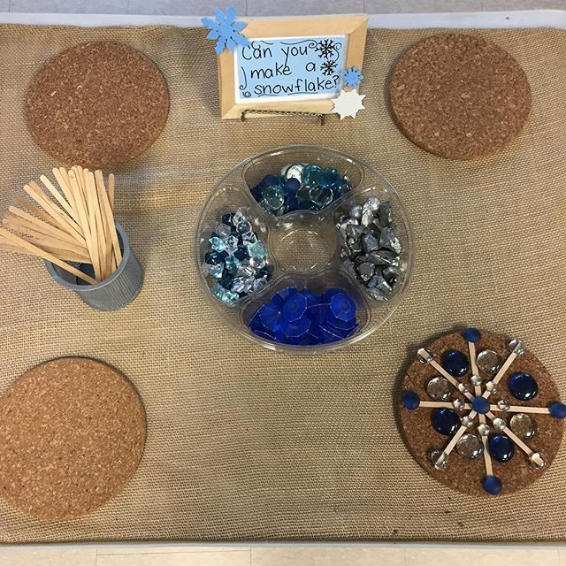 """""""Can you make a snowflake"""" provocation (snow, clear beads, winter)"""