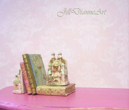 Reserved for Linda  Antiqued Pink Castle Bookends by JillDianneArt, $43.00