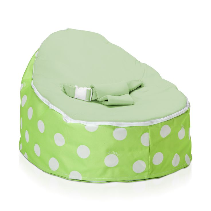 Super Soft Green Polka Baby Bean Bag With White Spots Removable Cream Seat Made By Chibebe