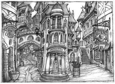 concept art for Diagon Alley. I see this and just want to COLOR it.
