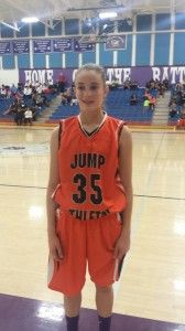 Maddie Frederick of Jump Athletic Team – Frederick shot the ball as good as anyone at the event. She has a natural stroke. Good size and length for the guard position. Solid fundamentals and a great team first approach. #jumpathletic