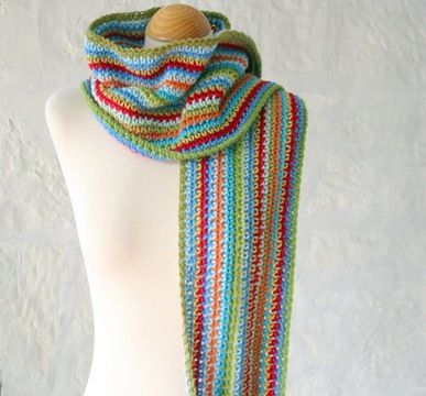 """Must make this with scrap yarn. It reminds me of the Dolly Parton song, """"Coat of many colors."""""""