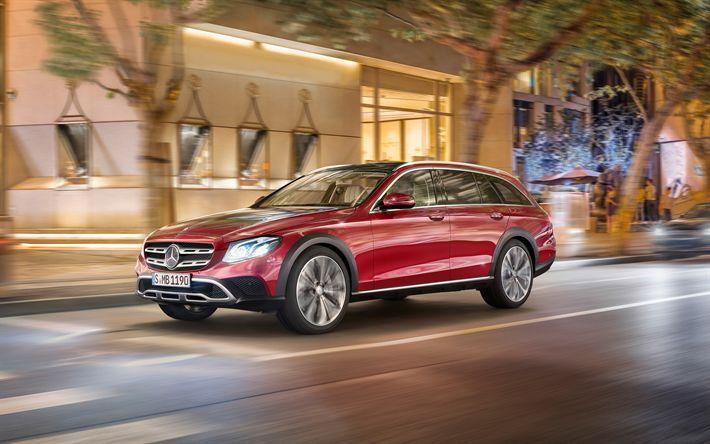 Download wallpapers Mercedes-Benz E-Class, All-Terrain, 2018, wagon, off-road version, red E-Class, new cars, Mercedes, 4k