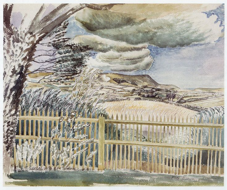 Farm House and Field by Eric Ravilious. Magic Realism. landscape