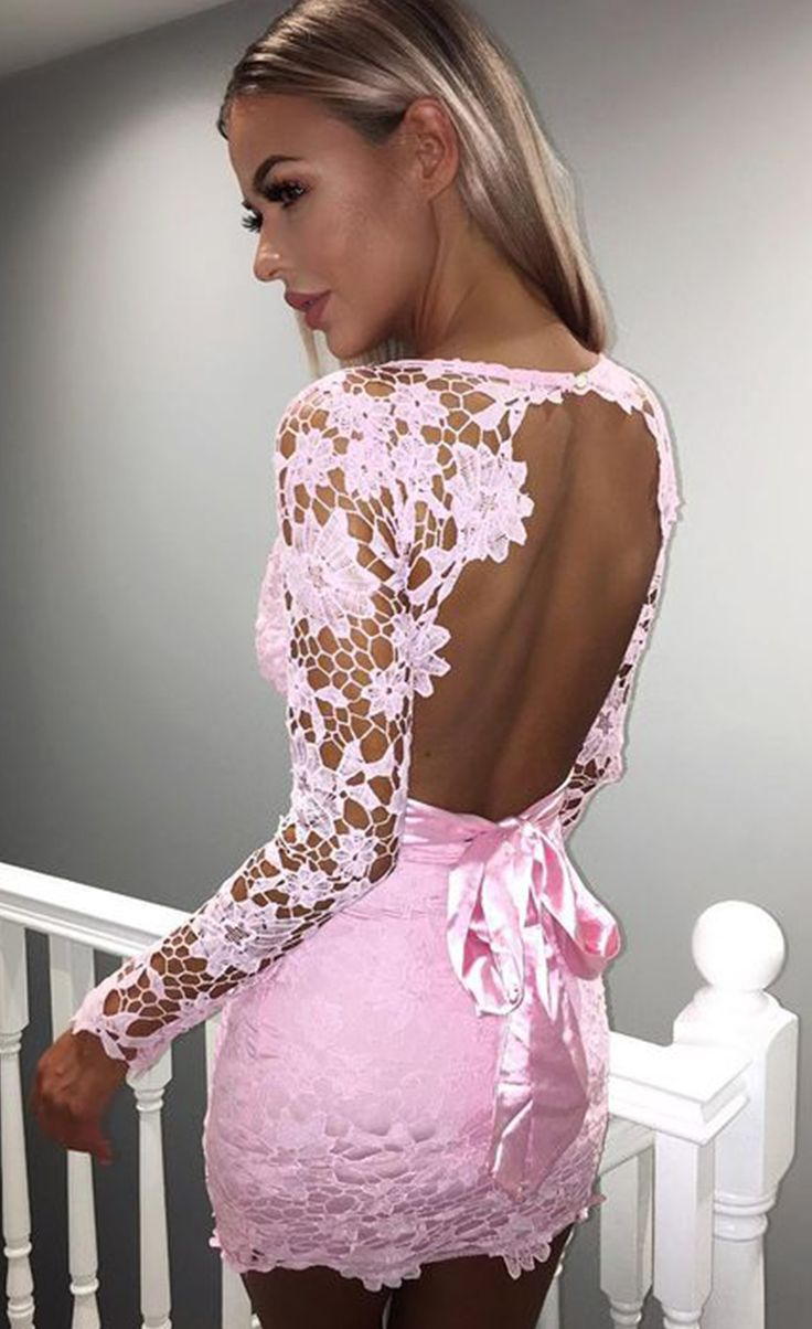 $49.99 Backless Pink Hollow Out Long Sleeve Club Mini Dresses