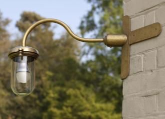 Stable Light with Corner Mounting in Antiqued Brass made by Jim Lawrence