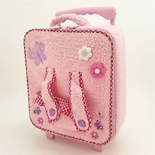Hello Kitty Rolling Pull Suitcase Pink Plush Plaid w/ Stuffed Doll Seat Carrier